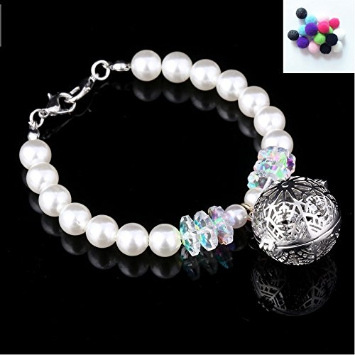 Bracciale da Donna, Exquisit sfera perle imitazione collana di perle catena braccialetto bracciale con oli essenziali Aromaterapia Diffusore Floating medaglione ciondolo medaglione, Argento Bianco