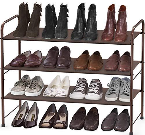 Simple Houseware 3-Tier Stackable Shoe Rack Storage Organizer 12-Pair / 20-Pair, Bronze