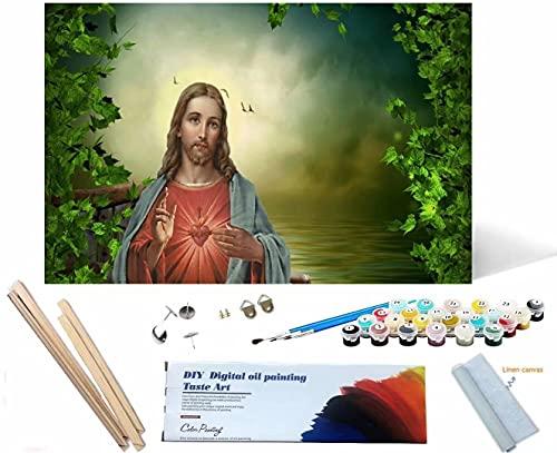 Beaxqb {Cornice Fai da Te} Kit per Pittura a Olio Fai da Te con i Numeri Cultura Religiosa Dipingere con i Numeri Natale Compleanno Decorazione della casa 30x40cm