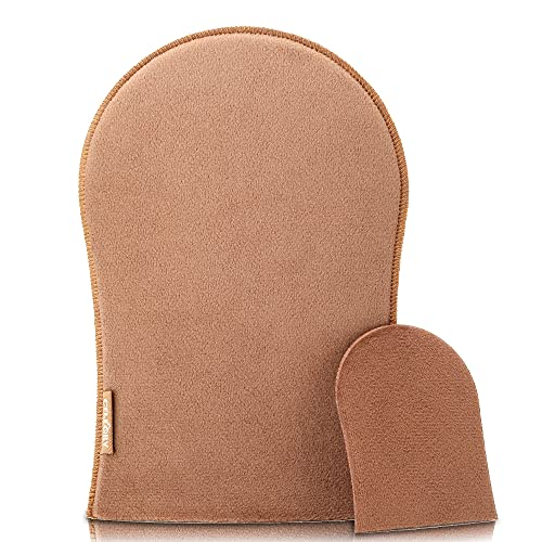 CeleCily Self Tanner Mitt Applicator, 2 Pack Sunless Tanning Glove for Self Tan, Double Sided Tanning Mitt Applicator and One Sided Face Applicator Washable & Reusable Sunless Tanner Mit Tools