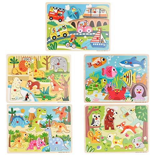 5er Set Holzpuzzle für Kleinkinder - Fahrzeuge, Zootiere, Waldtiere, Meerestiere & Dinos