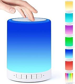 Lampka nocna z głośnikiem Bluetooth, czujnik dotykowy, lampka nocna, przyciemniana, ciepłe światło i 7 zmieniających się k...