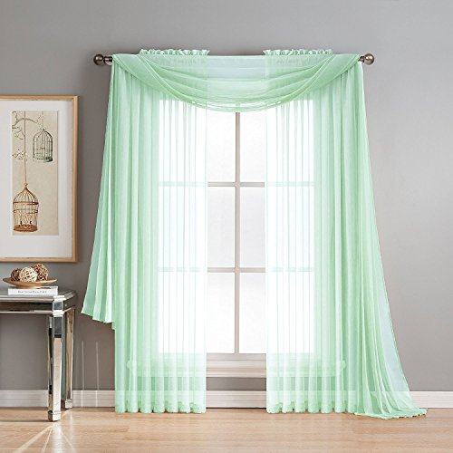 """Luxury Discounts Beautiful Elegant Solid Sheer Scarf Valance Topper Long Window Treatment Scarves (38"""" x 216"""" - Scarf, Mint)"""