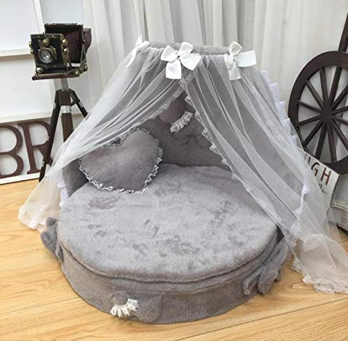 Hondenhok En Cathousedog Bed Luxe Hondenkennel Princess Bed Leuke Cool Dog Pet Cat Bed Sofa House Suede Stof Lace Pet Bed 60X60X45Cm