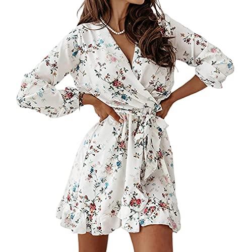 Voracale Vestido de mujer con volantes con cuello en V de manga larga con estampado floral para adultos Sexy para niña mujer vestido elegante moda delgado casual, Color blanco., XL