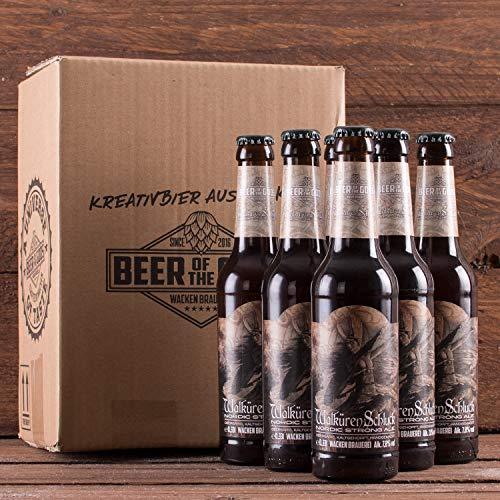 WACKEN BRAUEREI Strong Ale Craft Beer Box 6 x 0,33 l Flasche | WALKÜRENSCHLUCK | Viking Craftbeer Set Gift for Men | Wikinger Kraft Bier Geschenk für Männer | Party Festival Heavy Metal