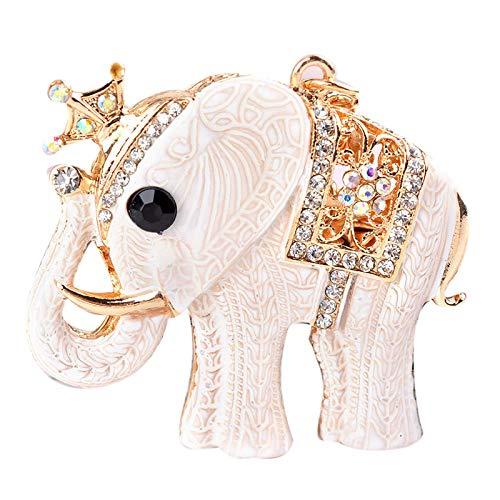 XTQDM Llavero de Moda Colgante con Forma de Elefante Blanco Llavero de aleación de Coche Dama Creativa pequeño Regalo práctico Bolso Colgante 12 cm