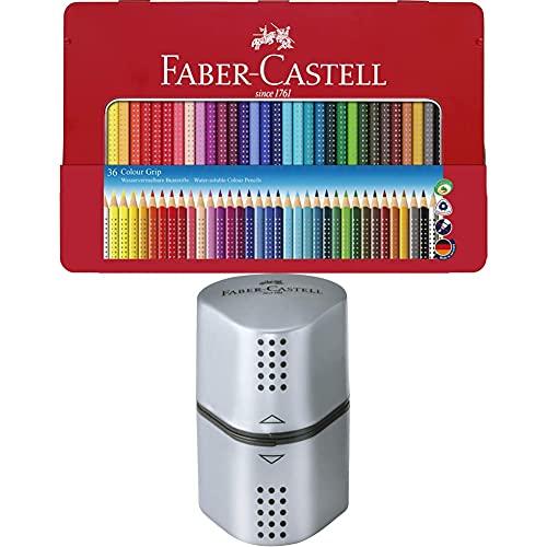 Faber-Castell 112435 - Estuche de metal con 36 lápices triangulares, escolares, de, con agarre Grip y...