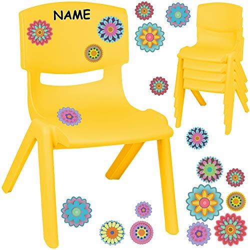 alles-meine.de GmbH Kinderstuhl / Stuhl - Motivwahl - gelb + Sticker - Bunte Blumen & Blüten - inkl. Name - Plastik - bis 100 kg belastbar / kippsicher - für INNEN & AUßEN - 0 - ..
