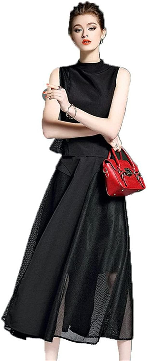 Nfgumnos Spring skirt suit collar sleeveless T-shirt two piece skirt long commutes,black,L