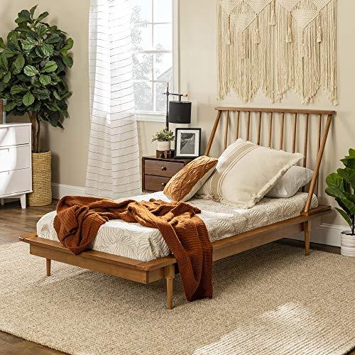 Walker Edison Mid Century Modern Solid Wood Spindle Platform Bed Headboard Footboard Bed Frame...