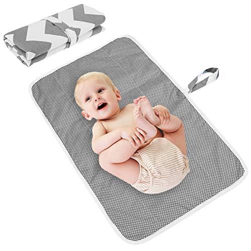 De feuilles Wasserdicht Wickelunterlage Waschbar für Babys und Kleinkinder Atmungsaktiv, Wiederverwendbare Urin Matte Abdeckung grau