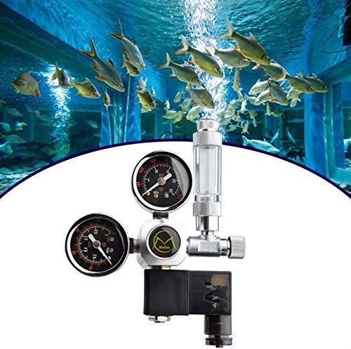 Régulateur CO2 Variante Aquarium Réutilisable Aquarium Grand Dual Dual Gauge Affichage W21.8 Avec une électrovanne fixe et une soupape à l'aiguille Valve Valve pour les plantes aquatiques de l'aquariu