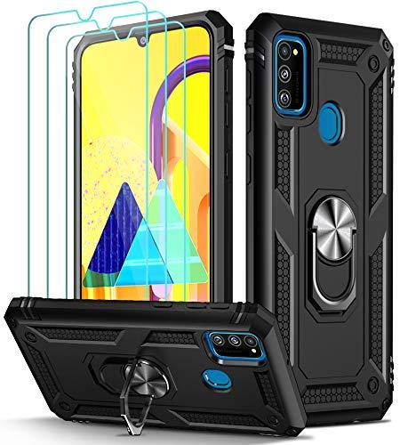 ivoler für Samsung Galaxy M30S / M21 Hülle mit [Panzerglas Schutzfolie *3], Militärischer Schutz Stoßfest Handyhülle Anti-Kratzer Schutzhülle Hülle Cover mit 360 Grad Ring Halter, Schwarz