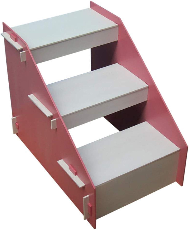 Pet Stair Wooden Pet Ladder Dog Climbing Ladder Level 3 Carpet Ramp Durable Pet Supplies Dog Activity Ladder (color   Pink)