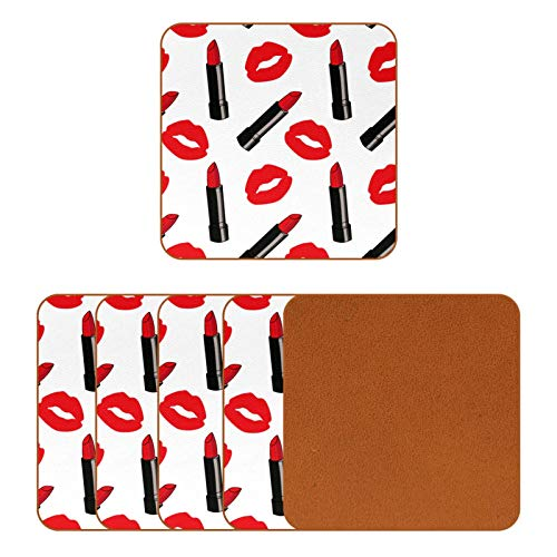 BENNIGIRY Dibujos animados estilo cómic rojo mate lápices labiales puntos posavasos de cuero cuadrado taza de café taza de vidrio manteles individuales taza de la taza esteras lugar esteras 6 unids
