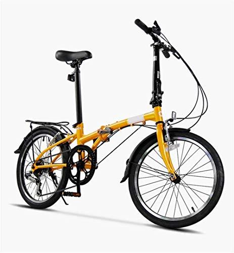Bicicleta plegable de 20 en 6 velocidades con marco de acero al carbono y freno de disco amarillo