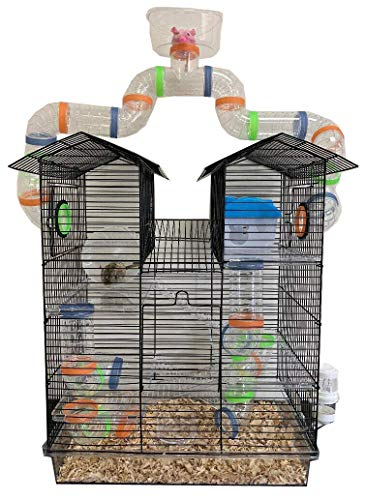 New 3 Level Sparkle Clear Transparent Syrian Hamster Mice Mouse Rat Cage with Large Top Running Ball