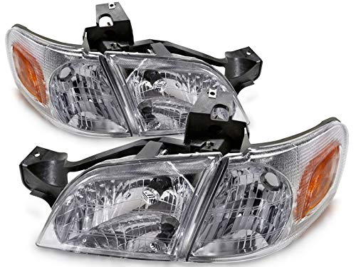 HEADLIGHTSDEPOT Chrome Halogen Headlights 4-Piece Set with Corners with Bulbs Compatible with Chevrolet Oldsmobile Pontiac Montana Silhouette Trans Sport Venture Includes Left and Right Side Headlamps