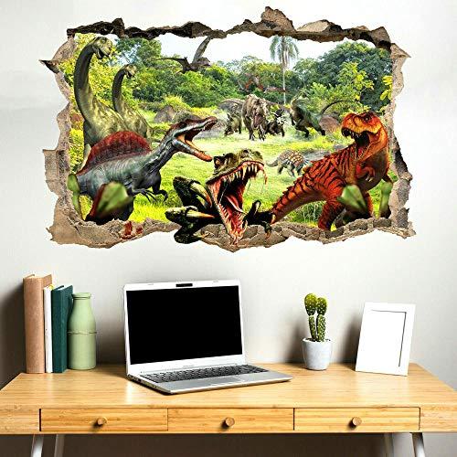 Pegatinas de pared Dinosaurios coloridos pegatinas de pared transferencia de arte Mural calcomanía póster decoración de habitación QD1-60x90cm