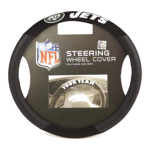 Fremont Die NFL New York Jets Poly-Suede Steering Wheel Cover, Fits Most Standard Size Steering Wheels, Black/Team Colors
