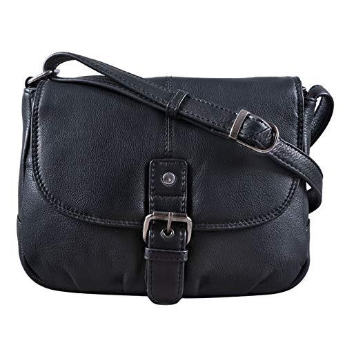 STILORD 'Iris' lederen handtas dames kleine vintage schoudertas voor uitgaan klassieke avondtas feesttas echt leer, Kleur:zwart
