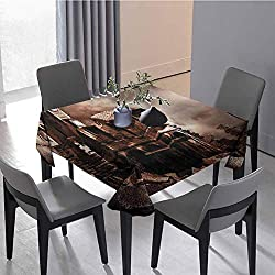 Wedding Tablecloth Outdoor Tablecloth Buildings Clock Tower Interior Table Decoration 62 x 62 inch