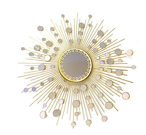 Fancy Bathroom Mirrors,Living Room Wall Mirror, Kitchen Wall Mirror Decorative Starburst Mirror,Metal Wall Hanging Mirror in Sunburst ShapeMD101