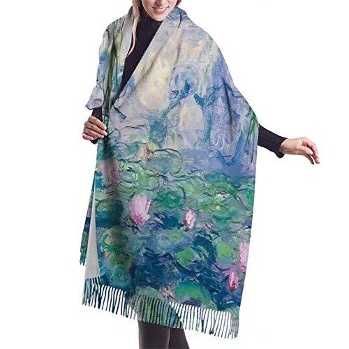 Vcxbsdvbd lirios de agua Claude Monet Fine Artfashion cachemira gran chal invierno grueso cálido bufanda abrigo chal 77 pulgadas x 27