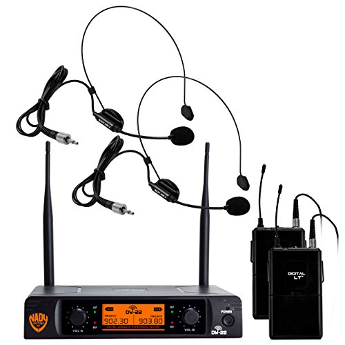 "Nady DW-22 Dual Digital Wireless Headset Microphone System (HM-3) – Ultra-low latency with QPSK modulation - XLR and ¼"" outputs – UHF rangewith HM-3 Unidirectional Headmic"