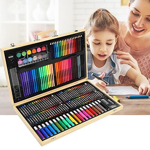 Juego de arte, juego de pintura de crayón pastel al óleo, suministros de arte para niños, suministros de arte con caja de madera para niños, niñas, niños, adolescentes, artistas, niños,