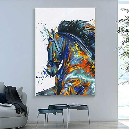 Geiqianjiumai Foto muurkunst HD print paard aquarel hoofddecoratie dier modulaire poster ingelijste woonkamer canvas frameloos schilderij