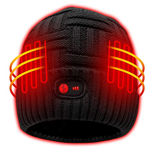 Autocastle Heated Hat Men Women Battery Heat Cap,7.4V Black