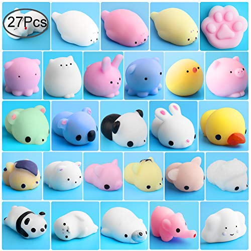Animal Squeeze Stress Toys, Outee 27 Pcs Animals Squishy Stress Relief Toys Mini Squishies Squishy Stress Toys Mochi Stress Toy Animal Stress Mochi Squeeze Toys Mochi Squishy Animals