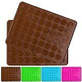 Belmalia 2x Macaron Silicone Baking Mat for perfect Macarons | Non-stick Silicone Mould with Pastry Dough Scraper | Brown