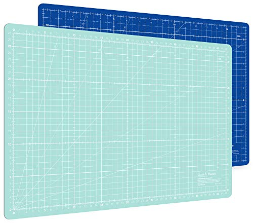 Guss & Mason Selbstheilende Schneidematte A3 in Blau, Pink, Grün. Perfekt zum Nähen, Basteln und Patchworken. 45x30 beidseitig Bedruckt. cm und inch Angabe