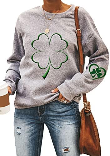 YMING Women Long Sleeve St. Patrick's Day Sweatshirt Crewneck Irish Shamrock Blouses Grey Shamrock 2XL
