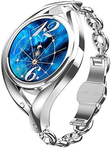 AKY Reloj inteligente femenino 1.1 pulgadas DIY Relojes Monitoreo de frecuencia cardíaca Señoras Smartwatch para Android lem1995 4 Star Crystal Diamond, (Color: Plata) (Color: Oro) (Plata) (Plata)