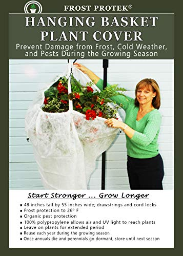 """FROST PROTEK Plant Cover for Hanging Baskets – Frost Cover/Insect Barrier/Freeze Damage – Garden Fabric for Plant Protection and Insulation – 48"""" Tall Bag with Drawstring"""