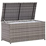 Canditree Outdoor Storage Box Poly Rattan, Patio Garden Deck Box, Storage Chest Container for Cushions Tools (Grey)