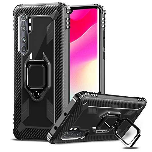 IMBZBK Kompatibel mit Xiaomi Mi Note 10 Lite Hülle,[Fingerring mit 360-Grad-Drehung] [Anti-Fall] Agnetic Car Mount Kompatibel - Schwarz
