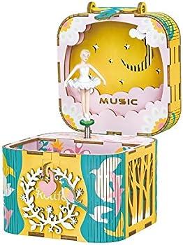 ROBOTIME 3D Wooden Puzzle Hand Crank DIY Music Box Kit