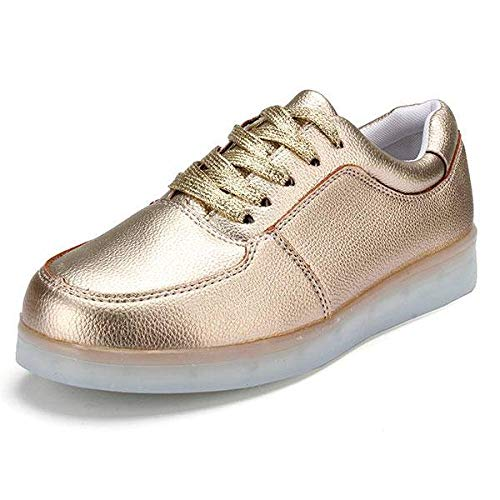 HYMY Zapatos De HombreUnisex USB LED Light Lace Up Luminoso Pareja Zapatos Ropa Deportiva Zapatillas Zapatos Casuales Senderismo Botas De Trekking (Size:39; Color:Gold)