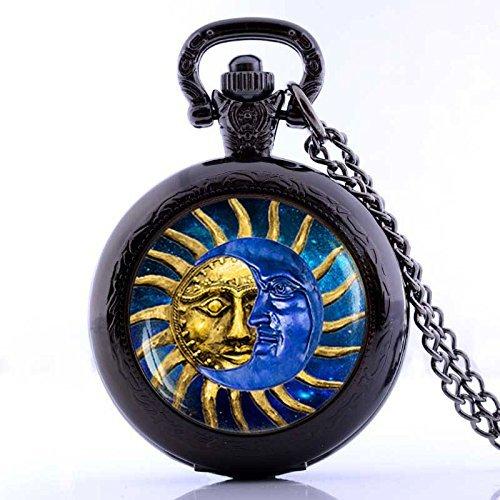 Vintage Unique Sun and Moon Handgefertigte Taschenuhr Halskette Schmuck Schwarz Quarz Uhren Kette
