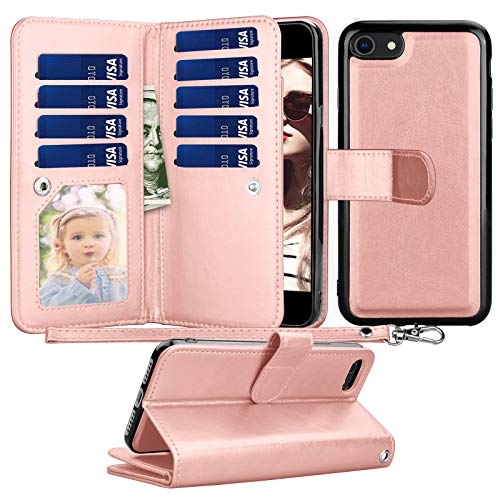 Tyline Wallet Case For iPhone SE 2020/SE2, for iPhone 8/iPhone 7 Case, PU Leather ID Credit Card Slots Holder Folio Flip [Detachable] Lanyard Kickstand Magnetic Phone Cover For iPhone SE 2nd -RoseGold