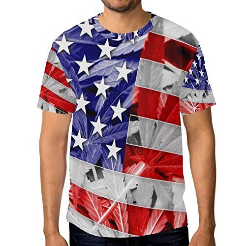 Camiseta de manga corta con la bandera de Estados Unidos en cannabis y hojas de marihuana Multicolor multicolor M