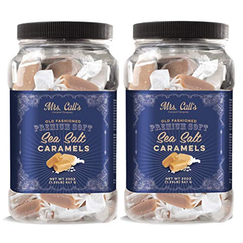 Mrs. Call's Naturally Gluten Free Gourmet Sea Salt Caramel: Kettle Cooked, Creamy, Soft & Individually Wrapped - Two Pack x 20 Ounces Each