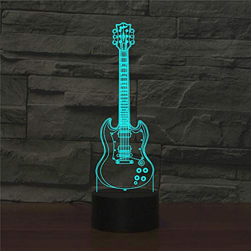 3D vijfsnarige gitaarlamp, led-nachtlampje met afstandsbediening, 7 kleurwisselende touch, voor kindervakantiegeschenken en speelgoedverlichting, USB-stekker