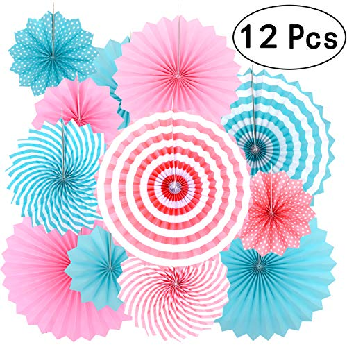 Gender Reveal Party Hanging Decorations - Boy or Girl Reveal Gender Baby Shower Birthday Party Carnival Party Ceiling Hangings Photo Booth Backdrops Props Decorations, 12pc