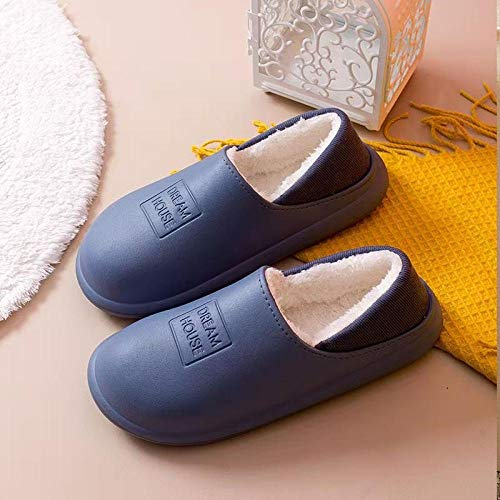 Nwarmsouth Mens Slip On Mules Slippers,Thick-soled indoor cotton shoes, solid color bag heel house shoes-gray_UK5-UK5.5,Men's Memory Foam Warm Lined Slipper